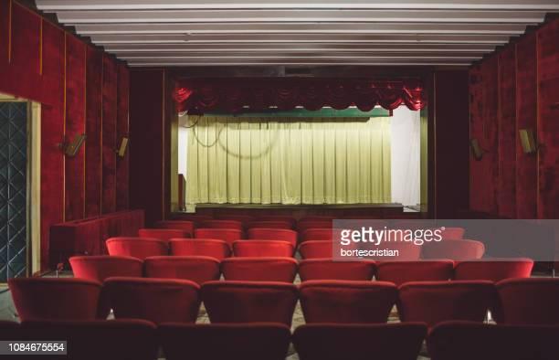 empty seats in theater - bortes stockfoto's en -beelden