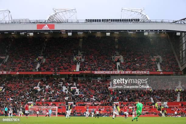 Empty seats inside the stadium during the Premier League match between Manchester United and West Bromwich Albion at Old Trafford on April 15 2018 in...