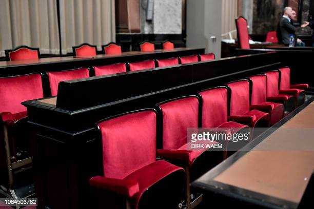 Empty seats of the members of the jury are pictured ahead of a session in the trial regarding the terrorist attack at the Jewish Museum, at the...