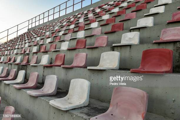 Empty seats of the stadium prior to a match between Villa Nova and Atletico MG as part of the Minas Gerais State Championship 2020 to be played...