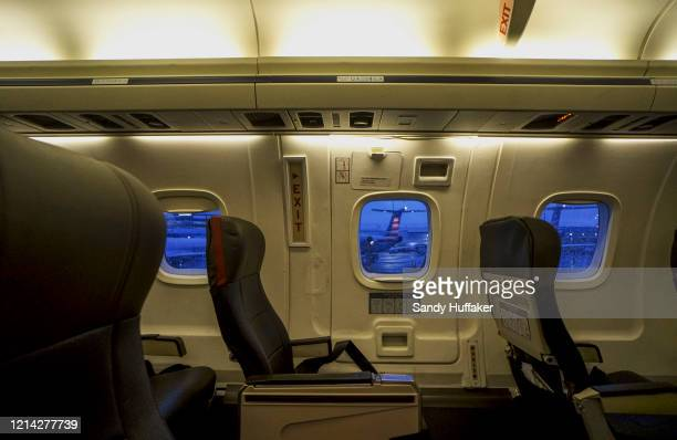 Empty seats on an American Airlines flight from Charlotte International Airport on May 20 2020 in Charlotte North Carolina Air travel is down as...
