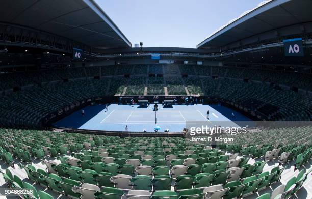Empty seats on Rod Laver Arena during a practice session for Novak Djokovic ahead of the 2018 Australian Open at Melbourne Park on January 14 2018 in...