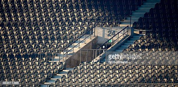 Empty seats on the stands are pictured during the Bundesliga match between Hertha BSC and SC Freiburg at Olympiastadion on February 15 2015 in Berlin...