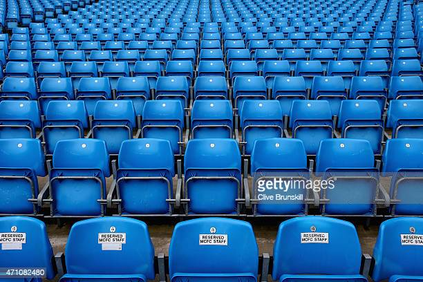 Empty seats prior to the Barclays Premier League match between Manchester City and Aston Villa at Etihad Stadium on April 25 2015 in Manchester...