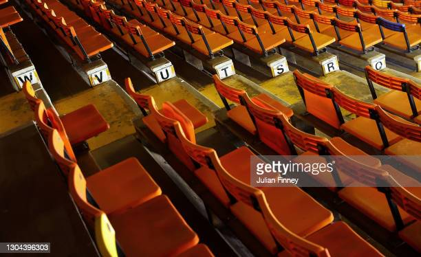 Empty seats seen inside during the Sky Bet Championship match between Luton Town and Sheffield Wednesday at Kenilworth Road on February 27, 2021 in...