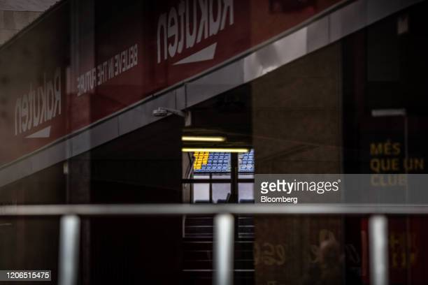Empty seats sit inside the Camp Nou stadium home to FC Barcelona in Barcelona Spain on Tuesday March 10 2020 Spains economy is particularly...
