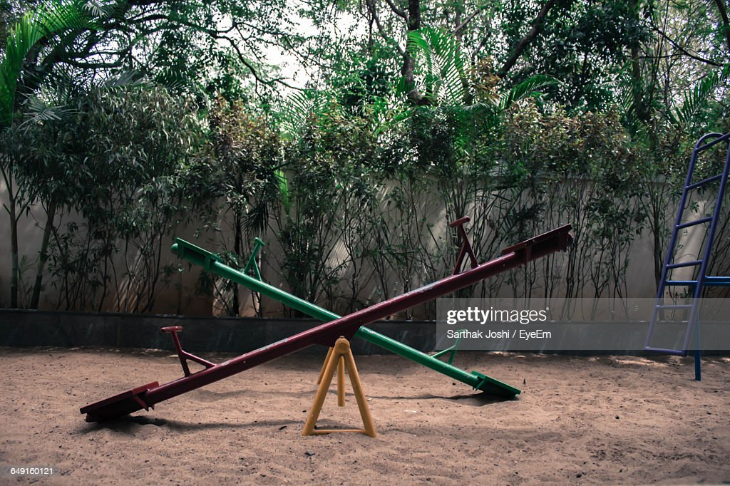 Empty Seesaw In Playground : Stock Photo