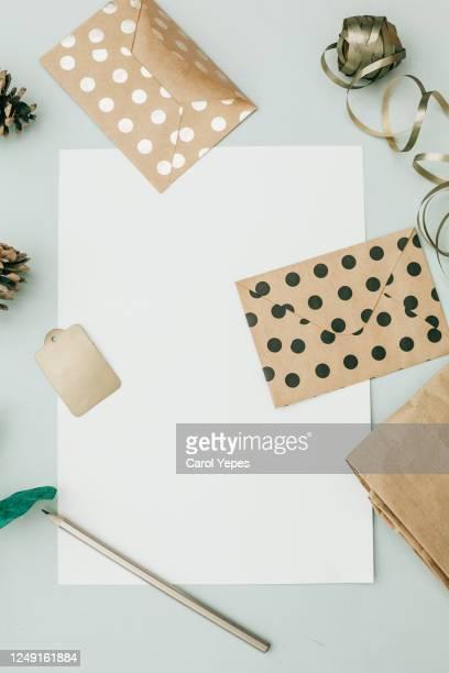 empty sheet , envelopes, scissors top view.feminine desktop - ロマン主義 ストックフォトと画像