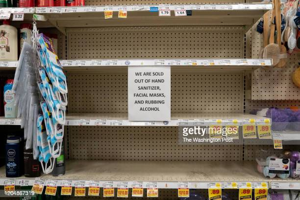 Empty shelves and signs indicating out of stock items at a grocery store in Kirkland Wash on Sunday March 1 2020 Kirkland officials are monitoring a...