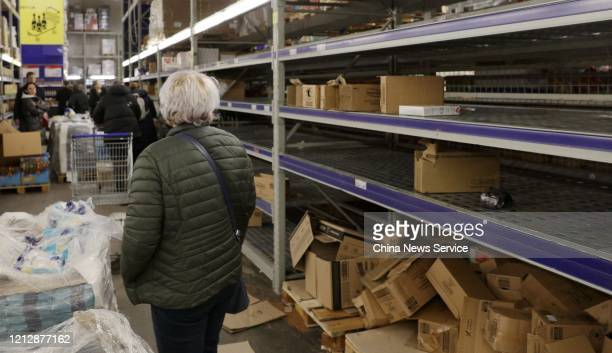 Empty shelves are seen at a supermarket amid novel coronavirus outbreak on March 16 2020 in Moscow Russia