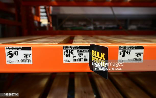 Empty shelves for N95 masks are seen at a Home Depot store in Alhambra, California on February 4, 2020. - As the coronavirus outbreak spreads,...