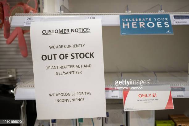 Empty shelves in a Boots chemist after the retailer ran out of hand sanitiser on March 3 in Cardiff Wales Another 12 cases of coronavirus were...