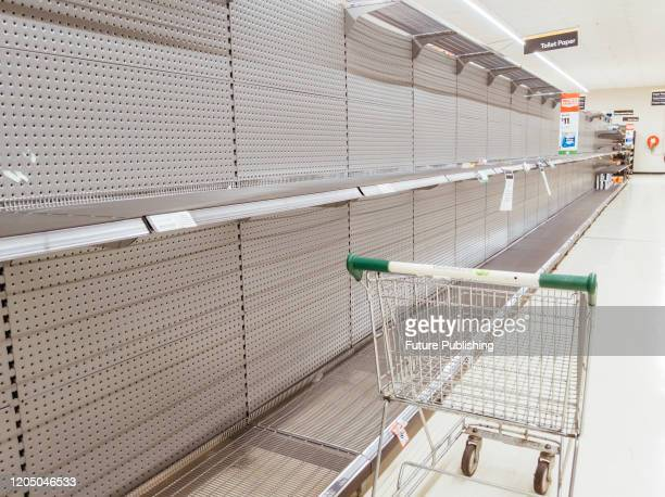 Empty shelves in an Australian supermarket after panic buying due to the Corona Virus PHOTOGRAPH BY Chris Putnam / Barcroft Studios / Future...