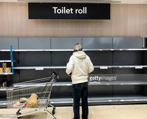 Empty shelves in the toiletry aisles of an COOP store in Kent UK on MArch 14 due to the Coronavirus outbreak