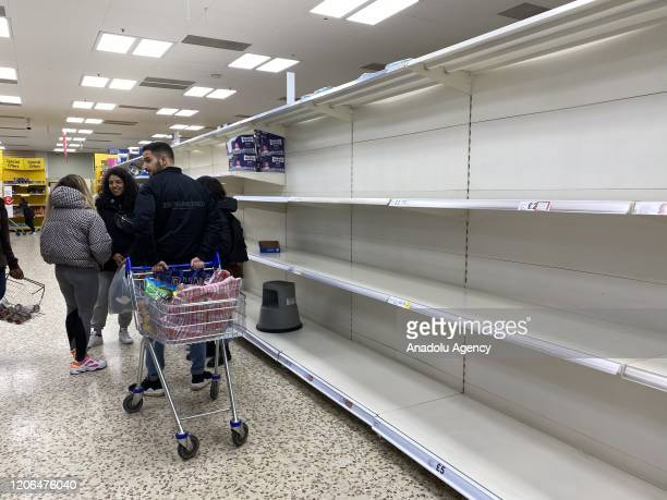 Empty shelves of pasta and personal hygiene products are seen in a supermarket as cases of coronavirus rises in London United Kingdom on March 10...