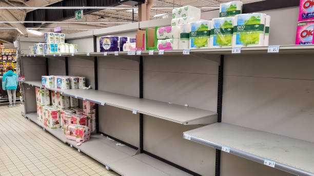 FRA: Empty Shelves Are Seen In A Supermarket Prior The Tonight Speech Of French President Emmanuel Macron