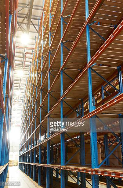 Empty shelving system in large warehouse