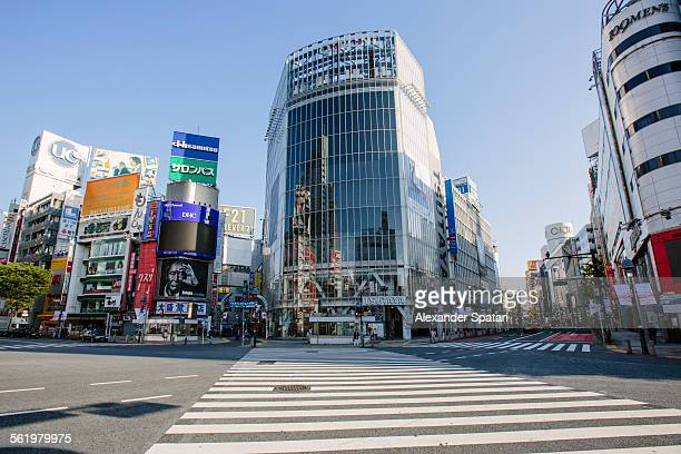 empty shibuya crossing in the morning, tokyo,japan - shibuya ward stock pictures, royalty-free photos & images