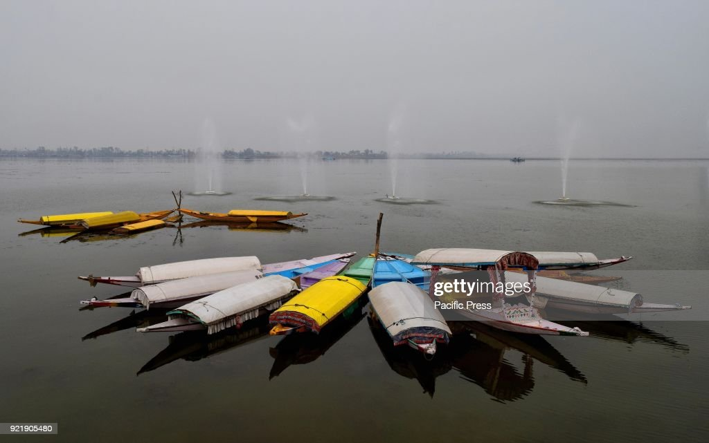 Empty Shikaras on the waters of world famous Dal Lake in Srinagar, the summer capital of Indian controlled Kashmir.