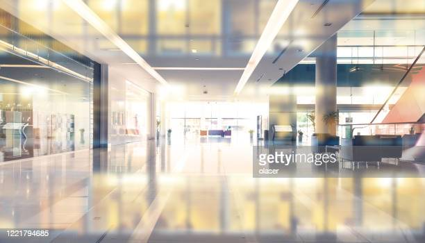 empty shopping center or building entrance and  business building reflection - shopping mall stock pictures, royalty-free photos & images