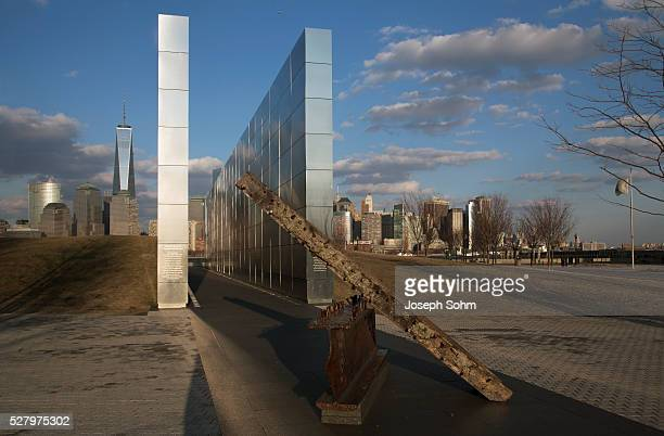 Empty Sky: Jersey City 9/11 Memorial at sunset shows iron beam from W.T.C., New Jersey, USA, 03.20.2