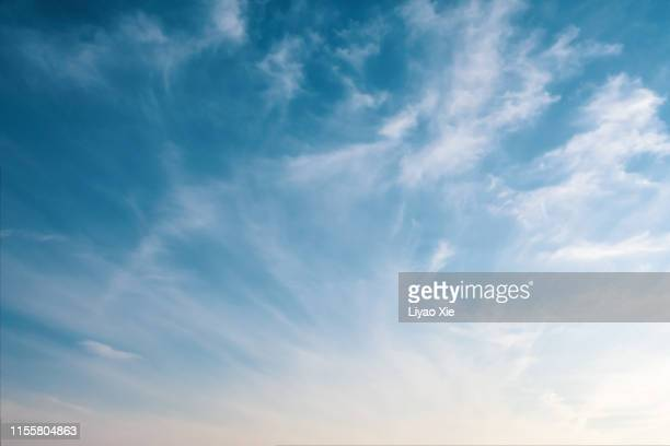empty sky with clouds - blue stock pictures, royalty-free photos & images