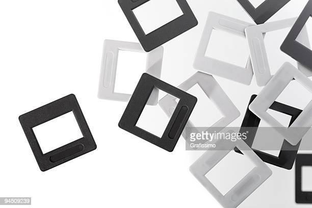leere folien, in schwarz und weiß - dia stock-fotos und bilder