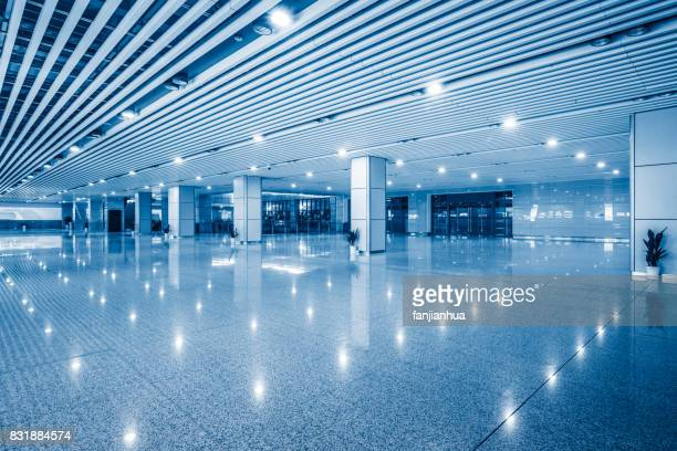 empty space in modern airport or railway station in blue tone