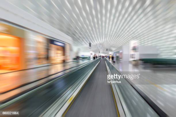 empty space in modern airport or railway station
