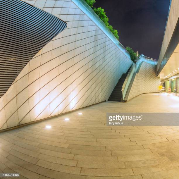 empty square front of modern architectures at night
