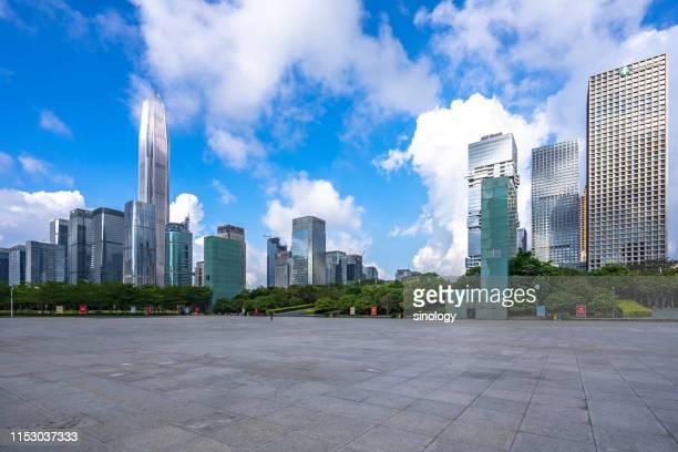 empty square with city skyline in shenzhen china - 深圳市 ストックフォトと画像