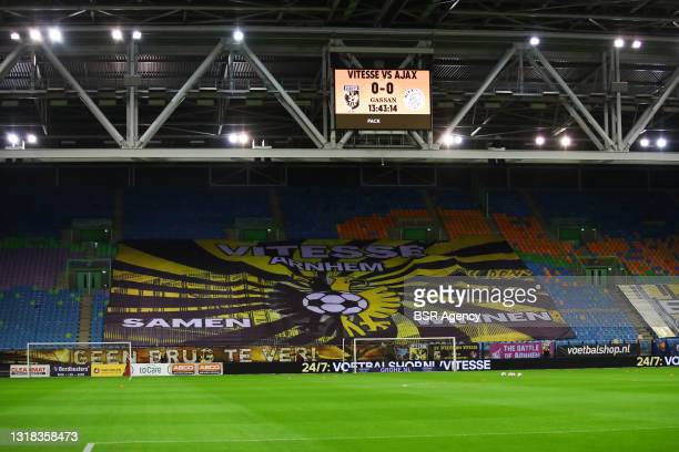 Empty stadium at the last game of the season during the Dutch eredivisie match between Vitesse and Ajax at Gelredome on May 16, 2021 in Den Haag,...