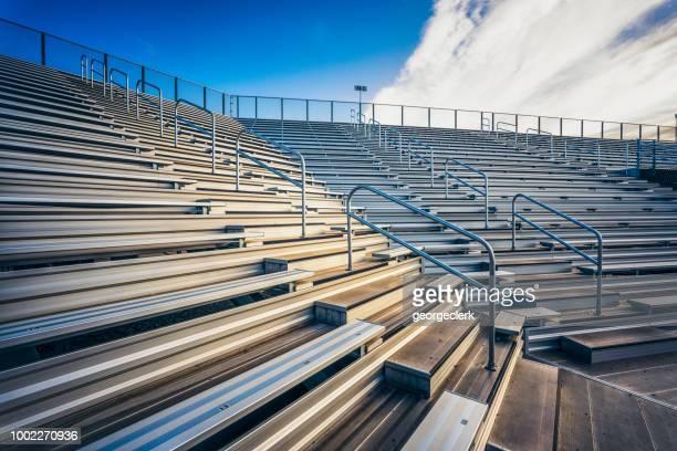 Empty stadium bench seating