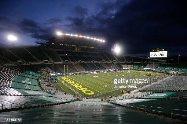Empty stadium during the game between the Oregon Ducks and the Stanford Cardinal at Autzen Stadium on November 07, 2020 in Eugene, Oregon.