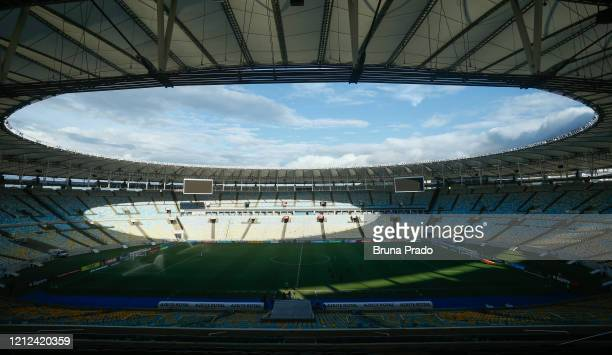 Empty stadium prior to a match between Flamengo and Potuguesa as part of the Rio State Championship 2020 to played behind closed doors at Maracana...