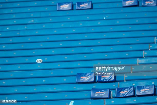 Empty stadium seating before the game between the Buffalo Bills and the Tampa Bay Buccaneers at New Era Field on October 22 2017 in Orchard Park New...