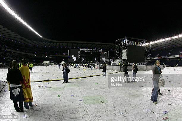 Empty stage after the Live 8 Edinburgh concert at Murrayfield Stadium on July 6, 2005 in Edinburgh, Scotland. The free gig, labelled Edinburgh 50,000...