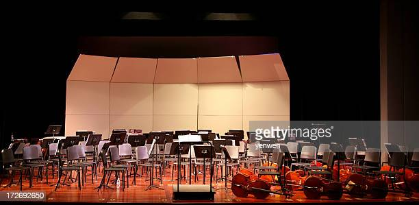 empty stage before concert - violin family stock photos and pictures