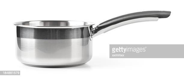 A empty stainless steel pot with a long handle
