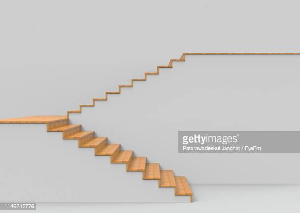 empty staircases against white background - steps and staircases stock pictures, royalty-free photos & images