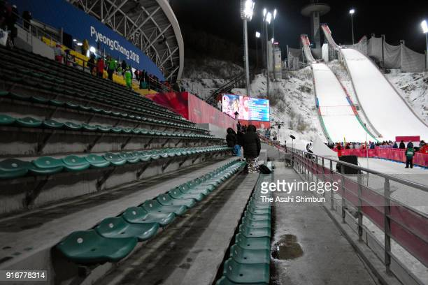 Empty stand is seen during the Ski Jumping Men's Normal Hill Individual Final on day one of the PyeongChang 2018 Winter Olympic Games at Alpensia Ski...