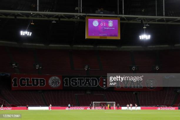 AMSTERDAM Empty stand with banner during the UEFA Champions League match in group D between Ajax Amsterdam and Liverpool FC at the Johan Cruijff...