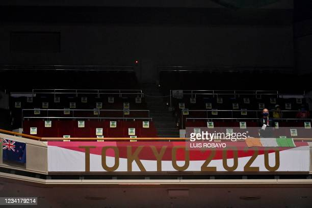 Empty stands are pictured during the men's light heavy preliminaries boxing match between Ireland's Emmet Brennan and Uzbekistan's Dilshod Ruzmetov...