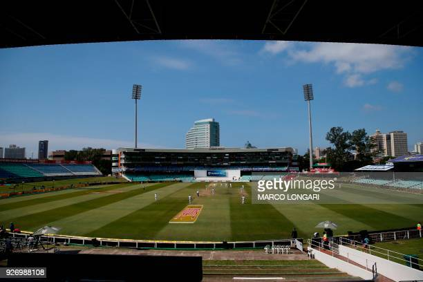 Empty stands are seen as play resumes during the fourth day of the first Test cricket match between South Africa and Australia at The Kingsmead...