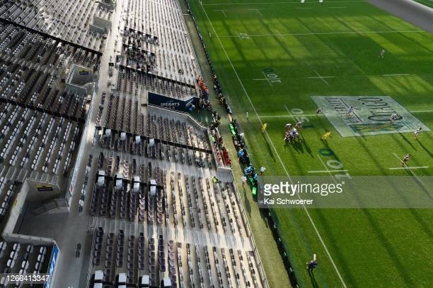 Empty stands are seen during the round 10 Super Rugby Aotearoa match between the Highlanders and the Hurricanes at Forsyth Barr Stadium on August 15,...