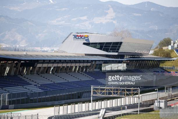 Empty stands at the Red Bull Ring race track are photographed in Spielberg southern Austria on April 17 2020 The Formula 1 motorsports 2020 season...