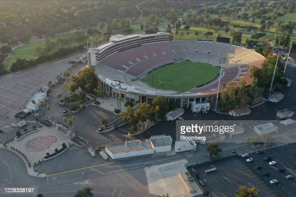Empty stands at the Rose Bowl are seen in this aerial photograph taken over Pasadena, California, U.S., on Thursday, Sept. 3, 2020. People gathered...