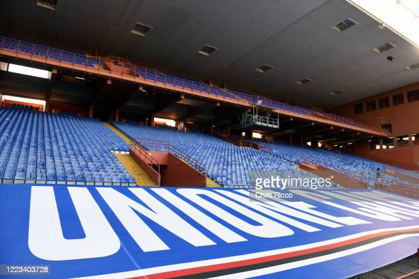 Empty stands at the Stadio Luigi Ferraris during the Serie A match between UC Sampdoria and Bologna FC at Stadio Luigi Ferraris on June 28 2020 in...