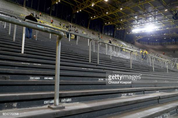 Empty stands on the south tribune prior to the Bundesliga match between Borussia Dortmund and FC Augsburg at Signal Iduna Park on February 26 2018 in...