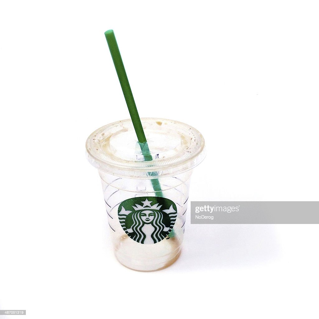 Empty Starbucks iced coffee cup : Stock Photo